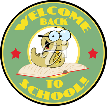 """Clipart Illustration of A Smiling """"welcome Back To School' Bookworm"""