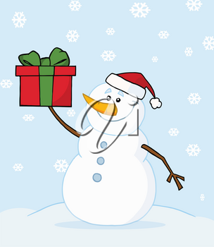 Clipart Illustration of A Smiling Snowman Holding a Christmas Present While the Snow Falls