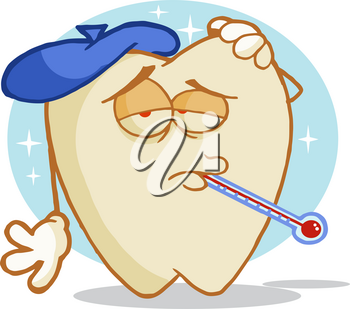 Clipart Illustration of A Cartoon Tooth With an Ice Pack and a Termometer