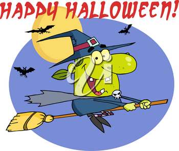 "Clipart Image of Bats and a Witch on a Broomstick Flying In Front of the Full Moon With ""Happy Halloween"" Greeting Text"