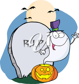 A Cute Ghost on Halloween Night In Front of a Headstone With a Carved Pumpkin Clipart Image