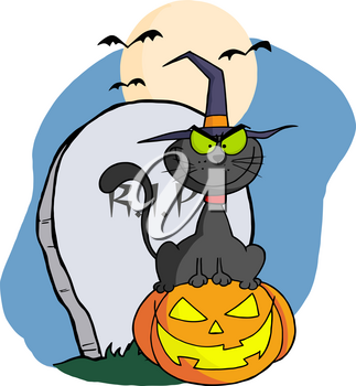 Clipart Image of A Cartoon Black Cat Smiling While Sitting In Front of a Grave Stone on a Jack-o-lantern