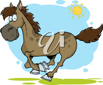 Clipart Image of A Brown Horse Trotting on a Clear Spring Day