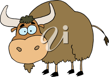 Clipart Image of A Brown Cartoon Yak Or Bull