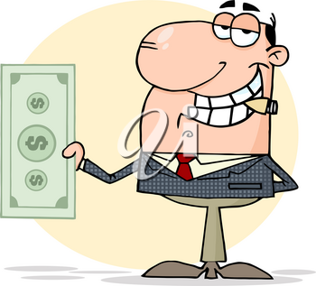 Clipart Image of A Suave Man In a Suit and Tie Holding a Dollar