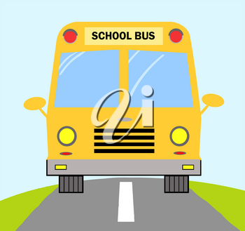 Clipart Illustration of The Front of a Yellow School Bus on the Road