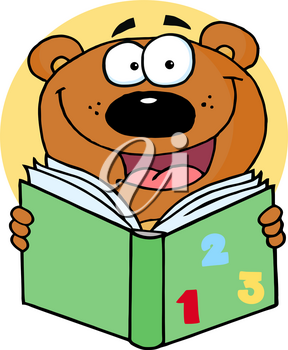 Clipart Image of A Cartoon Bear Studying His Math Book