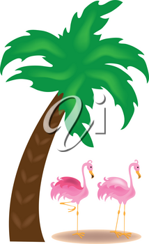 Clip Art Image of Flamingos Standing Under a Palm Tree