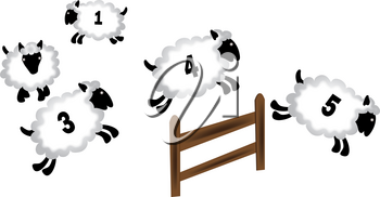 Numbered Sheep Jumping Over a Fence Clipart Image