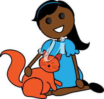 Clip Art Image of a Cartoon Hispanic Girl Sitting With Her Cat