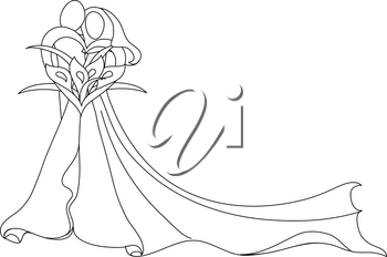 Clip Art Image of a Stylized Bride and Groom Design