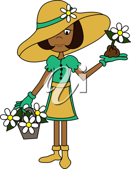 Clip Art Image of a Cartoon Woman in Gardening Clothes