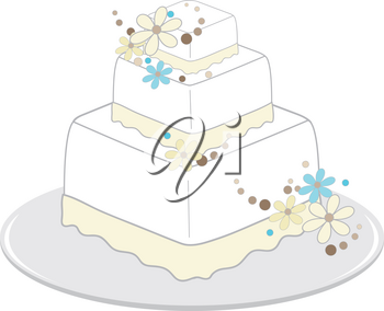 Clip Art Image of a Square Wedding Cake