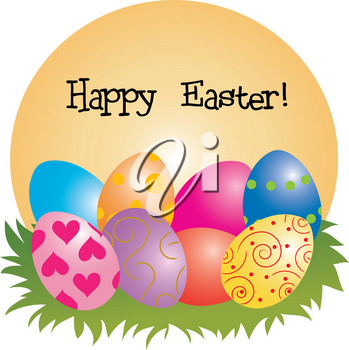 Clip Art Image of Painted Easter Eggs Sitting in Grass