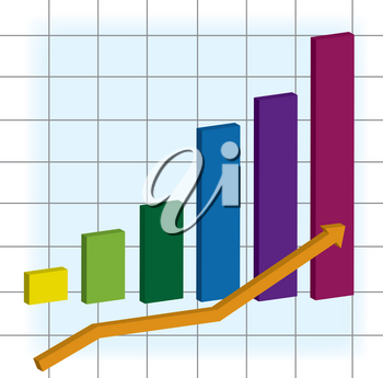 Clip Art Image of a Bar Chart With an Arrow Showing Up Trend