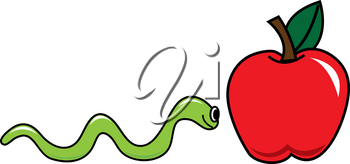Clip Art Image of a Worm Inching His Way to a Shiny Red Apple