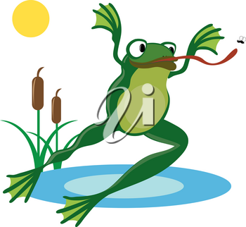 Clip Art Illustration of a Cartoon Frog Leaping Through the Air