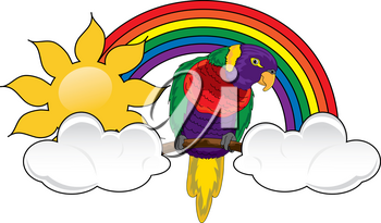 Clip Art Illustration of a Rainbow With a Parrot Clouds and a Sun