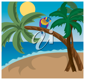 Clip Art Illustration of a Colorful Parrot in a Palm Tree on the Beach
