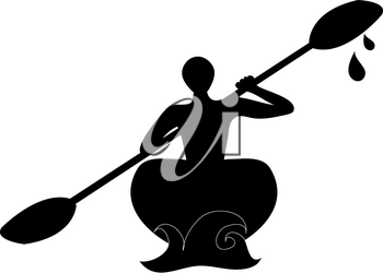 Clip Art Illustration of a Silhouette of a Man Kayaking