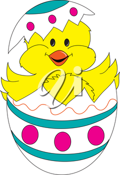 Clip Art Illustration of Cute Little Chick Hatching From His Egg