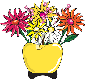 Clip Art Illustration of Daisies in a Vase