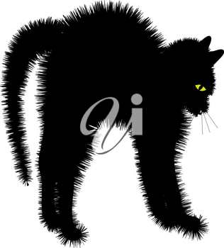 Clip Art Illustration of a Scared Black Cat With It's Fur Sticking Out