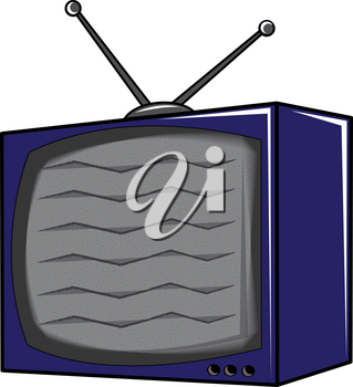 Clip Art Illustration of a Cartoon Television With Static