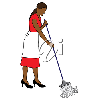 Clip Art Illustration of an Ethnic Maid Mopping a Floor Stock Photography
