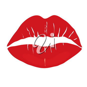 Clip Art Illustration of a Red Lipstick Kiss