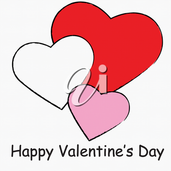 Clip Art Illustration of Simple Hearts and Happy Valentine's Day