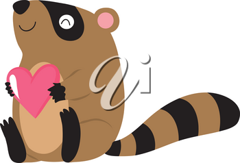 Clip Art Illustration Of A Raccoon Holding A Heart