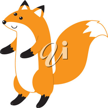 Clip Art Illustration Of A Fox Standing On Its Hind Legs