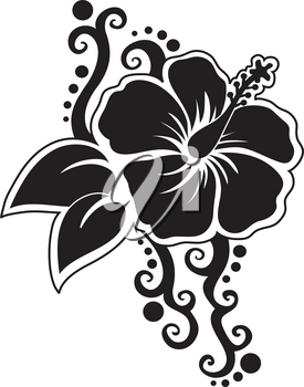 Clip Art Illustration Of A Hibiscus Flower Silhouette