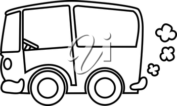 Clipart Image of Black and White Puttering Buss