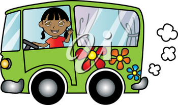 Clipart Image of A Waving African American Girl Driving a Puttering Hippie Bus