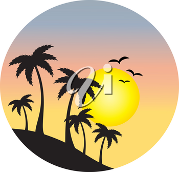 Clipart Image of Silhouettes of Palm Trees and Birds In Front of the Tropical Sunset