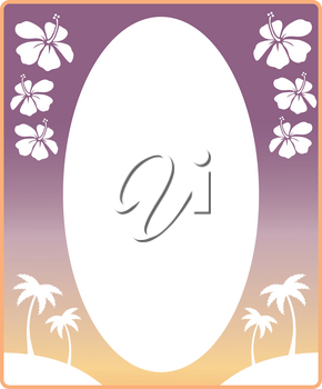 Clipart Image of Hibiscus Flowers and Palm Trees Decorating a Tropical Picture Frame