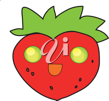 Clipart Character Illustration of a Smiling Strawberry