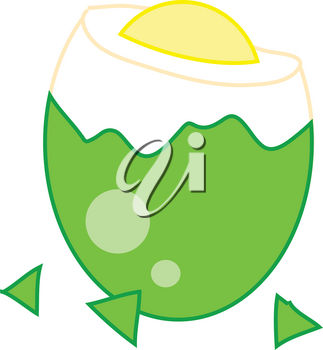 Clipart Picture of a Cracked,  Dyed Easter Egg With the Top Off