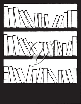 Clipart Illustration of a Bookcase Full of Books