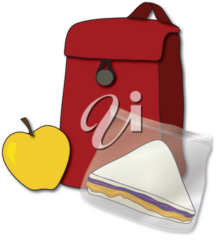 Clipart Illustration of a Red, Reusable Lunch Bag