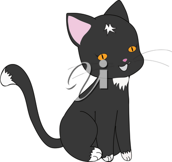 Clipart Illustration of an Adorable Black and White Kitten