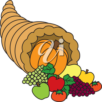 Royalty Free Clipart Illustration of a Thanksgiving Cornucopia