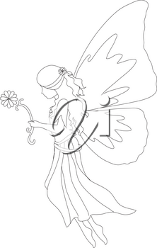 Royalty Free Clipart Illustration of a Fairy Outline