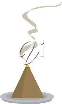Clip Art Illustration of a Burning, Cone Incense