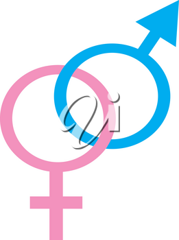 Clip Art Illustration of a Male and Female Symbol
