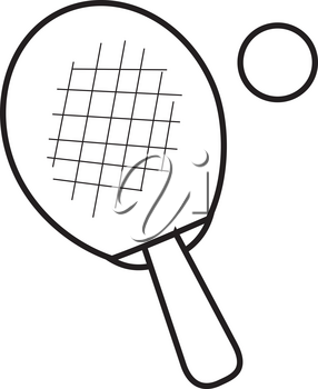 Clip Art Illustration of a Ping Pong Paddle With Ball