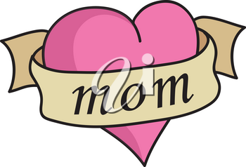 Clipart Illustration of a Heart With a Banner