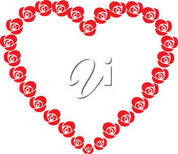 Clipart Illustration of a Heart of Roses